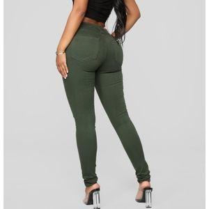 Green jeans from fashion nova